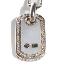 David Yurman Mother Of Pearl & Diamond Sterling Silver Dog Tag Necklace