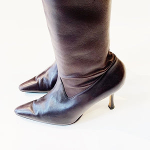 Manolo Blahnik Leather Boots Size 6.5