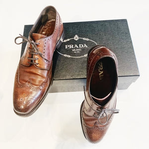 Men's Brown Leather Prada Shoes Size 10