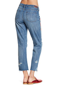 BLANKNYC Denim Embroidered Floral Cropped Girlfriend Jeans - Size 29