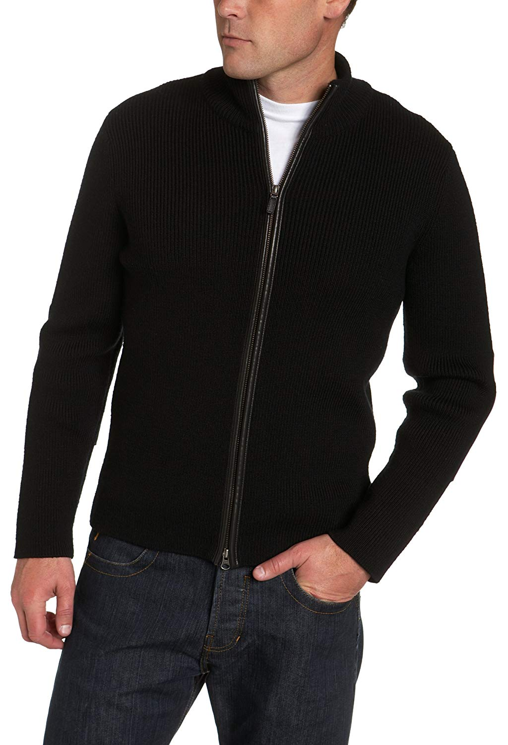 Cole Haan Merino Knit Zip Front Sweater, Size L