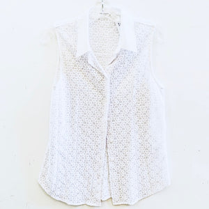 Equipment White Sleeveless Eyelet Blouse