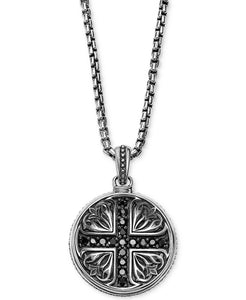 Scott Kay Sterling Silver & Black Sapphire Medallion Pendant Necklace
