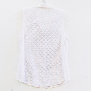Equipment White Sleeveless Eyelet Blouse Size M