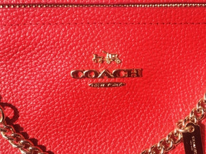 Scarlet Red Coach Clutch with Gold Hardware