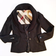 Black Wool Burberry Brit Jacket Size 2