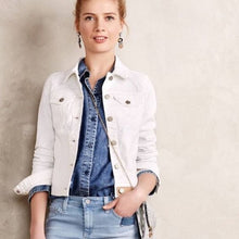 Anthropologie Pilcro White Denim Jacket with Ivory Stitching Size S