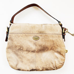 Fossil Gold Metallic Leather Bag