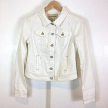 Anthropologie Pilcro White Denim Jacket with Ivory Stitching Size XS
