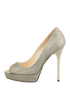 Jimmy Choo Crown Glitter Platform Peep-Toe Pump, Size 38
