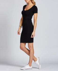 Bamboo Cap Sleeve Dress Black