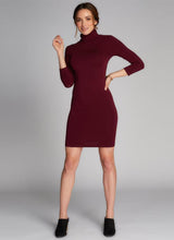 Bamboo Turtleneck Dress Bordeaux