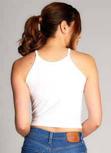 Bamboo High-Neck Crop Top - One Size