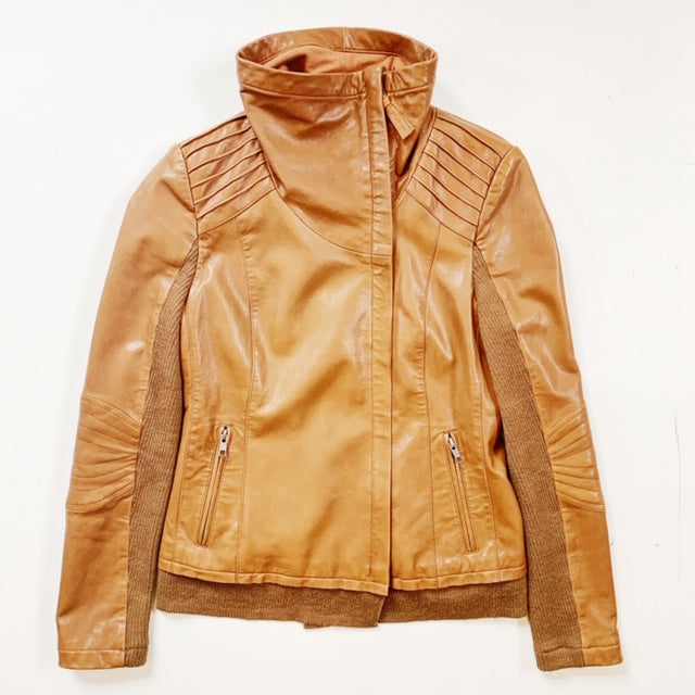 Mackage Camel Brown Leather Jacket Size S
