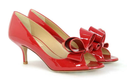 Valentino Couture Red Patent Leather Bow d'Orsay Peep Toe Pumps