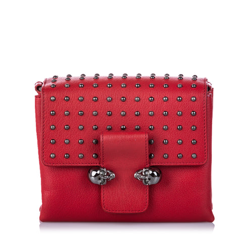 Alexander McQueen Studded Leather Twin Skull Crossbody Bag
