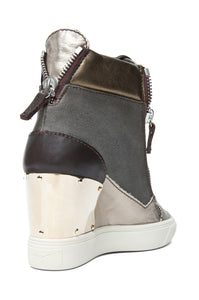 GIUSEPPE ZANOTTI Canvas & Leather Wedge Sneakers, size 38.5