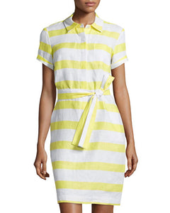Neiman Marcus Striped Linen Shirtdress - Size L