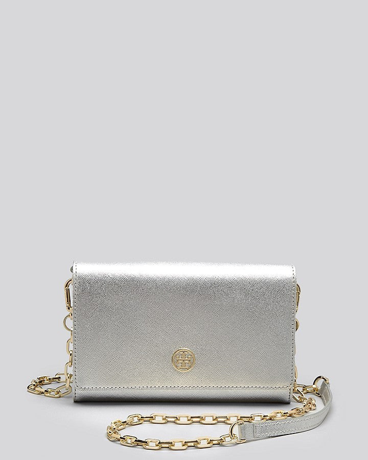 Tory Burch Crossbody Robinson Metallic Wallet