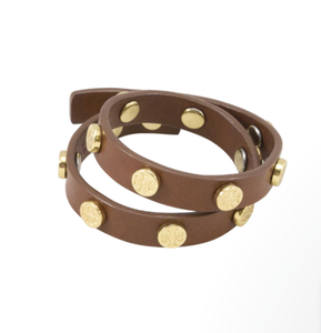 Tory Burch Studded Leather Wrap Bracelet