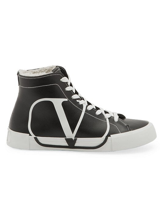 Valentino Garavani Leather Shearling High-Top Sneakers Size 38