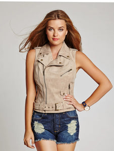 Guess Sleeveless Faux-Suede Moto Vest
