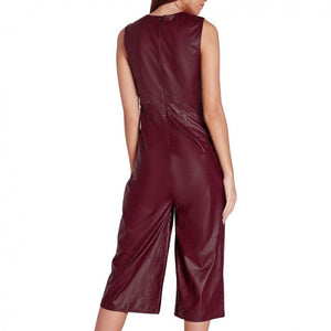 Zippileather Deep V Culotte Burgundy Lambskin Leather Romper Catsuit Size S