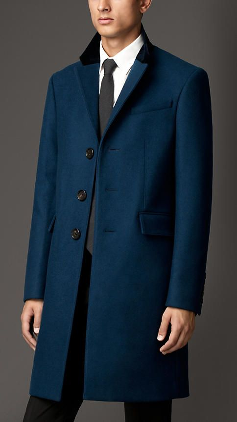 Blue Burberry Wool-Blend Overcoat with Velvet Top Collar, Size 44