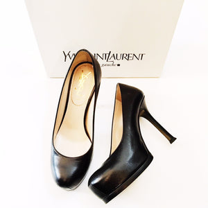 Black Leather YSL Pumps, Size 4.5-SalvEdge Boutique