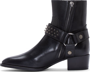 Men's Saint Laurent Black Stud Wyatt Harness Boots Size 11