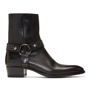 Men's Saint Laurent Black Stud Wyatt Harness Boots