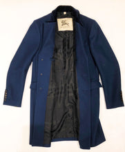 Burberry Blue Wool-Blend Overcoat with Velvet Top Collar, Size 44