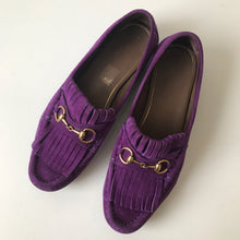Gucci Fringe Purple Leather Loafers Size 37.5