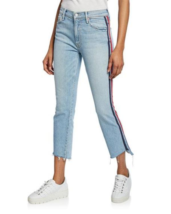 Mother Insider Step Fray Racer Stripe Jeans Size 31