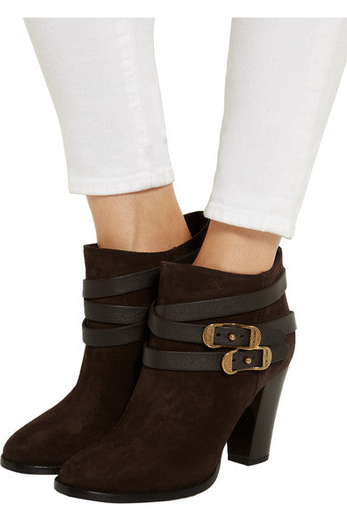 Jimmy Choo Melba Brown Suede Ankle Boots, Size 35
