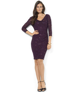 Ralph Lauren Cowl-Neck Sequined Lace Dress