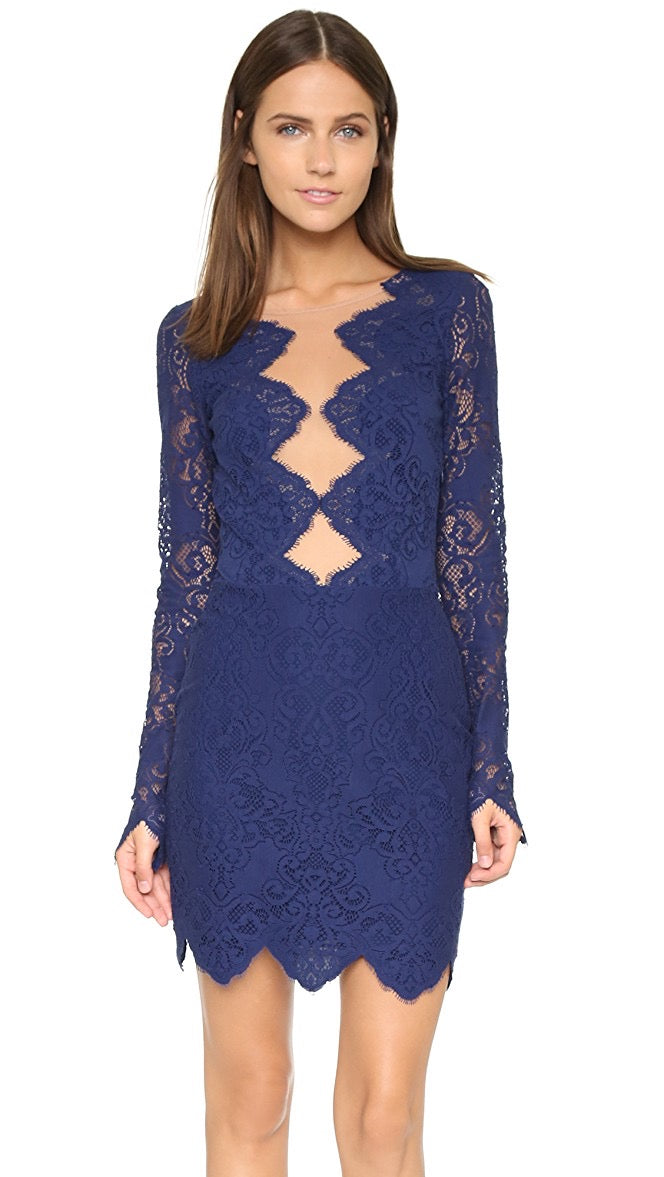For Love and Lemons Blue Lace Dress Size S