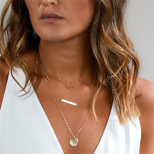Gold Tone Multilayer Necklace