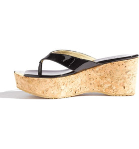 Jimmy Choo Pathos Patent Leather Thong Wedge Sandals - Size 7