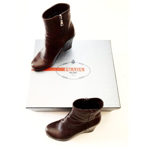 Prada Brown Leather Wedge Ankle Boots Size 7.5-SalvEdge Boutique
