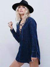 Free People Denim Lace Up Tunic