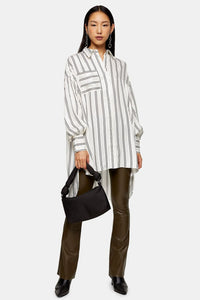 Top Shop Cream Stripe Jacquard Overshirt Size 2