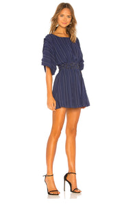 Tula Rosa Navy Short Sleeve Pinstripe Dress Size S