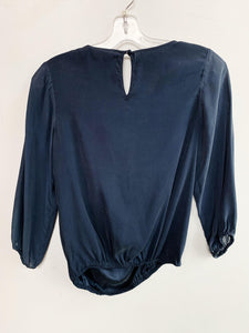 Alice + Olivia Navy Silk Blouse Size XS