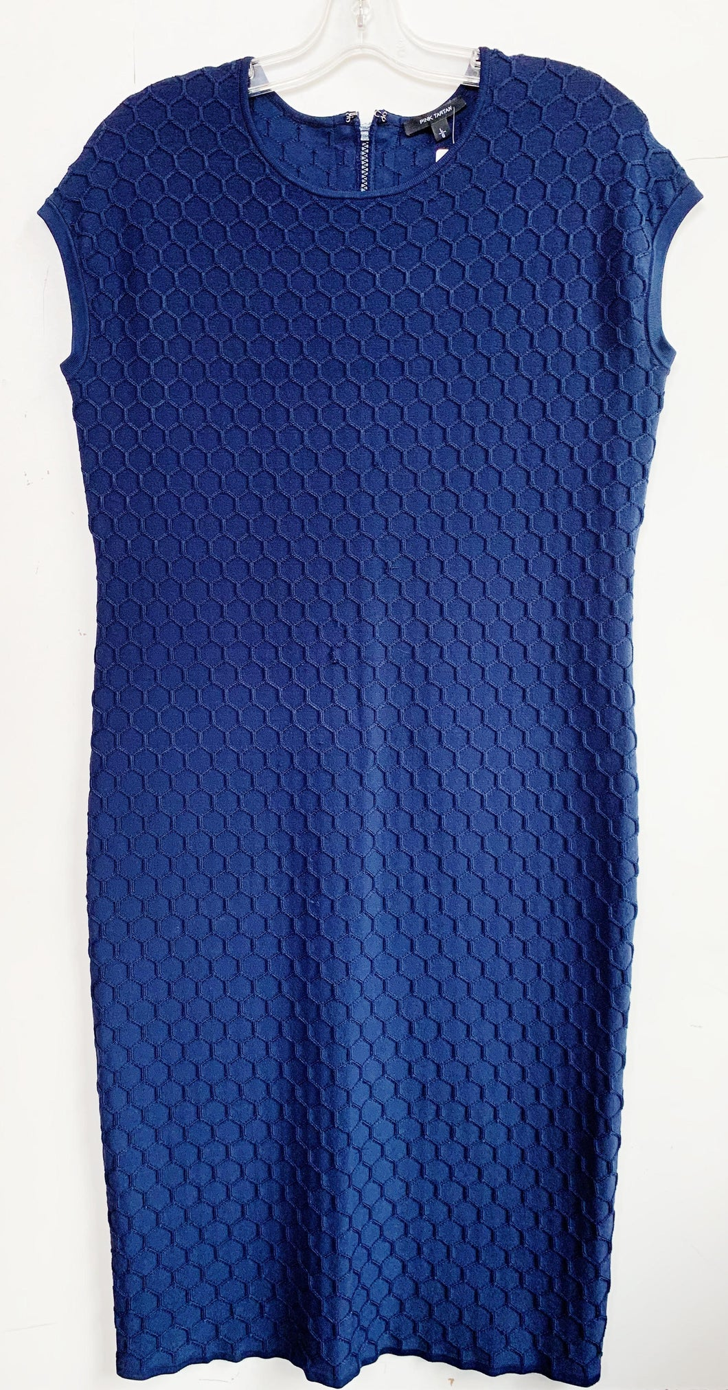 Pink Tartan Navy Sleeveless Dress with Honeycomb Texture Size L