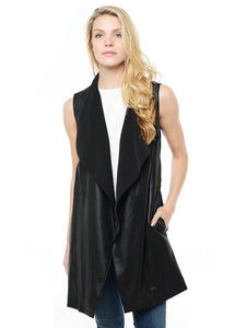 Vince Long Draped Black Vest