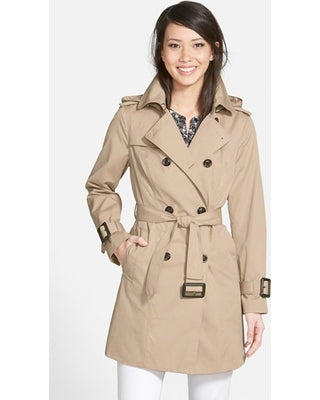 London Fog Beige Double Breasted Trench Coat Size M