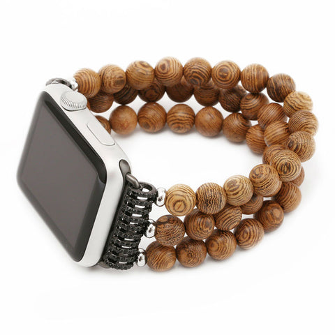 Wooden Bead Watchband for Apple Watch
