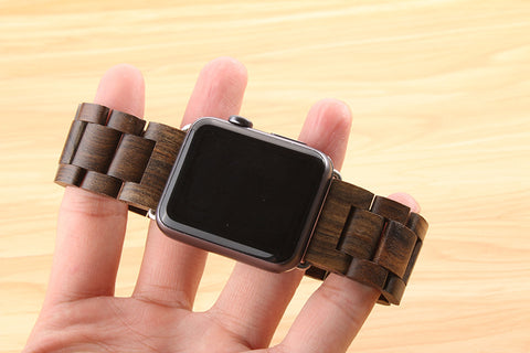 Brown Stained Wooden Watchband for Apple Watch