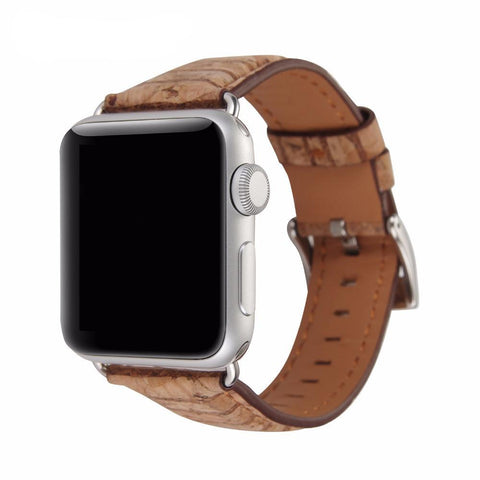 Wooded Leather Watchband for Apple Watch